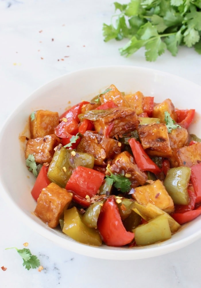 Sweet and Sour Tofu Recipe with Bell Peppers and Scallions (Vegan)