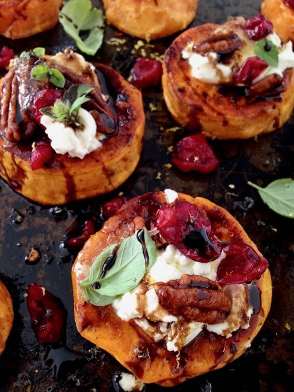 Vegan Roasted Sweet Potato Rounds Appetizers with Goat Cheese, Cranberries and Balsamic Glaze