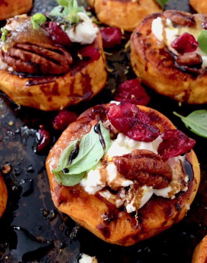 Roasted Sweet Potato Rounds Appetizers with Vegan Goat Cheese, Cranberries and Balsamic Glaze