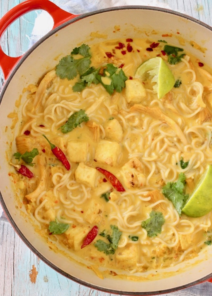 Easy Vegan Ramen Noodles Recipe with Tofu and Homemade Miso Coconut Broth.