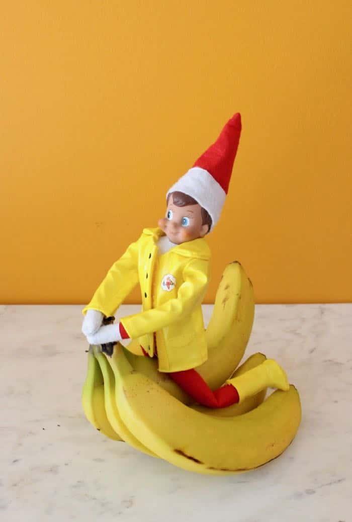 Elf on the Shelf Goes Vegan - Elf and His Bananas