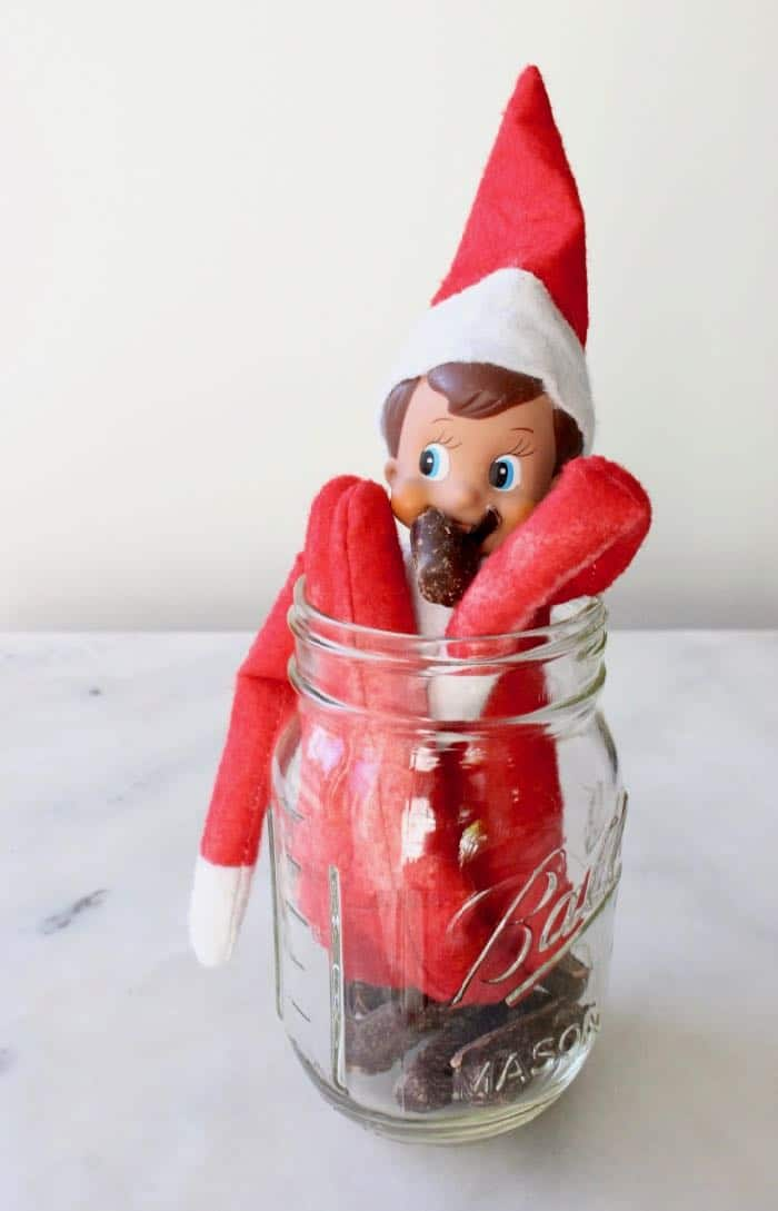 Easy & Funny Elf on the Shelf Ideas 2018 - Elf in the Candy Jar
