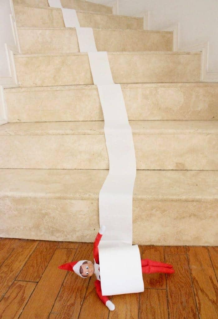 Easy & Funny Elf on the Shelf Ideas 2018 - Elf Toilet Paper Fun