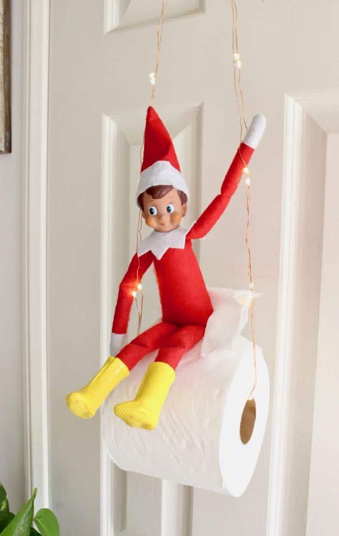 Easy & Funny Elf on the Shelf Ideas 2018 - Elf Toilet Paper Swing