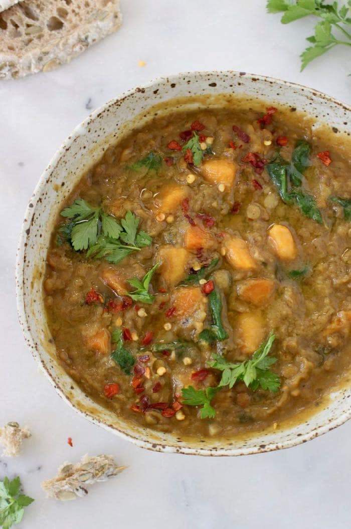 Detoxing Sweet Potato Lentil Stew recipe with cumin, coriander and smoked paprika.