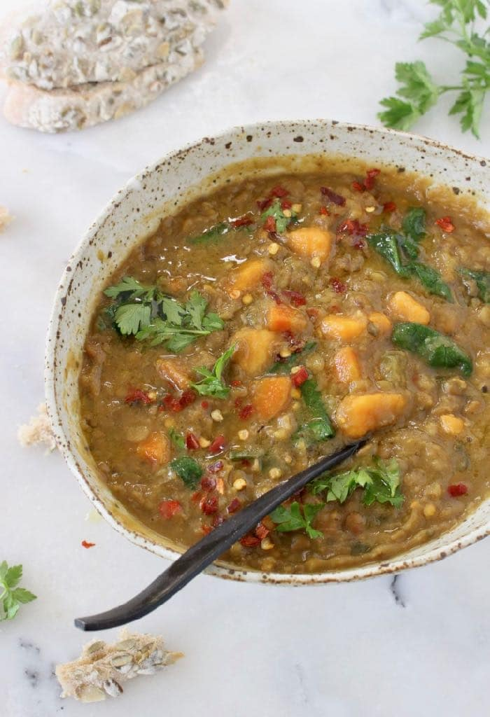 Bowl of Moroccan Sweet Potato Lentil Stew recipe with cumin,coriander and smoked paprika.