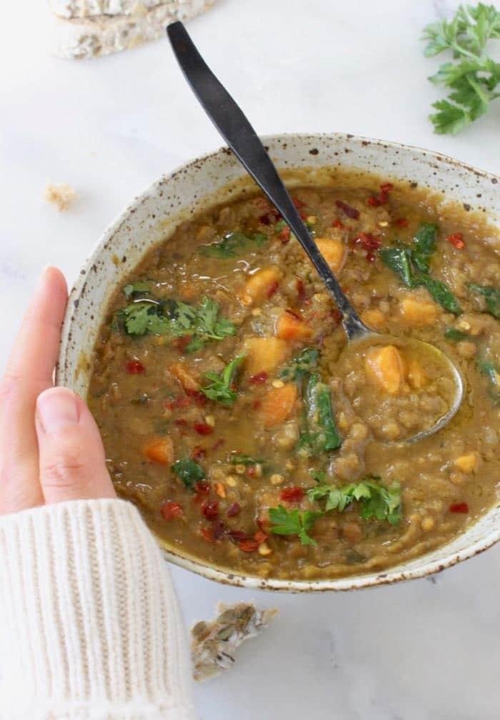 Detoxing Sweet Potato Lentil Stew recipe with cumin,coriander and smoked paprika.