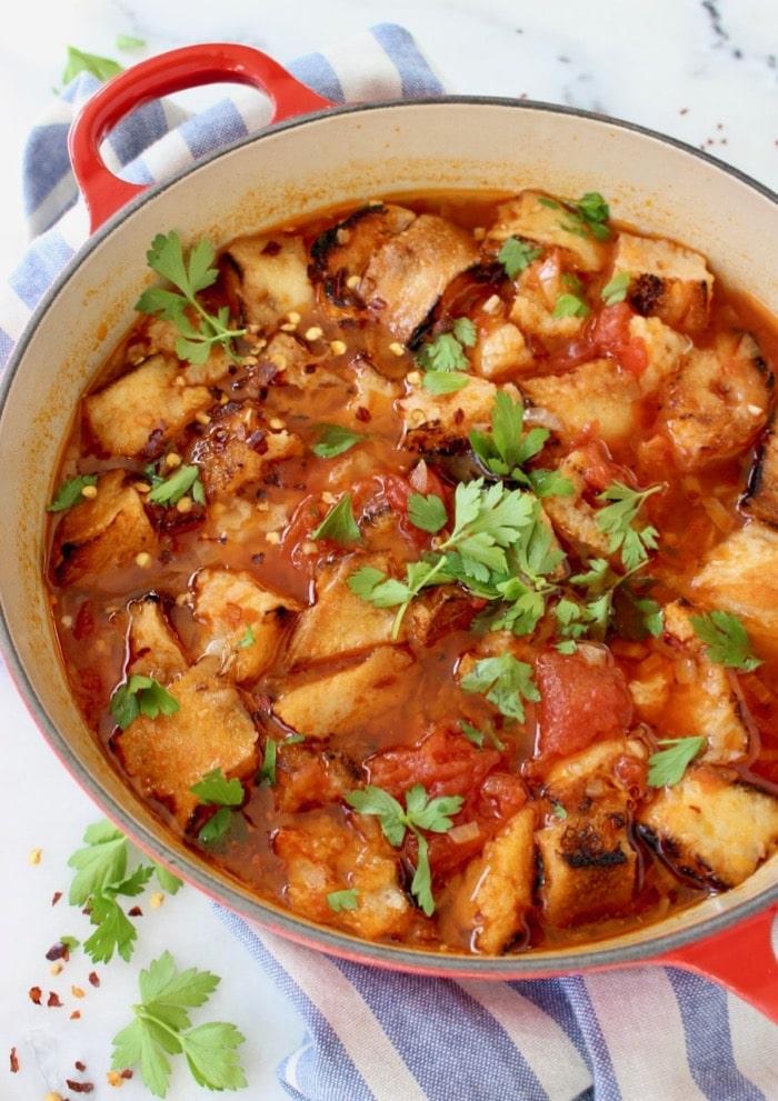 Italian bread soup recipe or Pappa al Pomodoro, a rustic peasant Tuscan tomato soup.