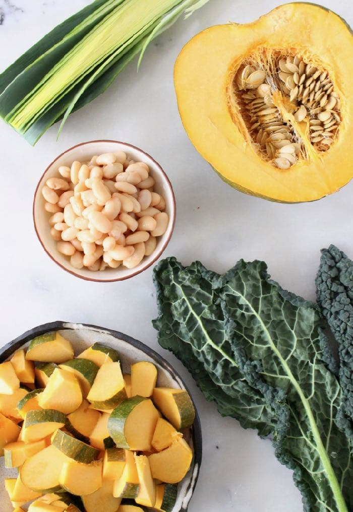 Lacinato Kale, Leeks, Squash and Cannellini Beans for Soup.