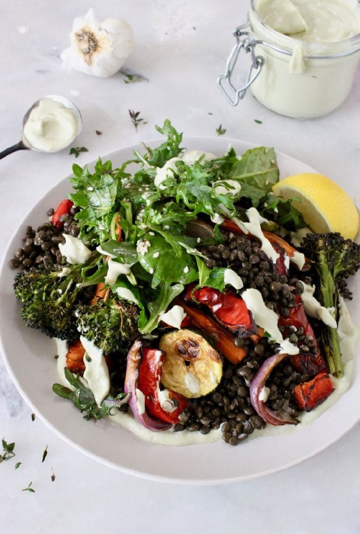 Creamy Vegan Garlic Aioli Lentil Salad with Roasted Vegetables. GF, No Oil, WFPB Recipe!