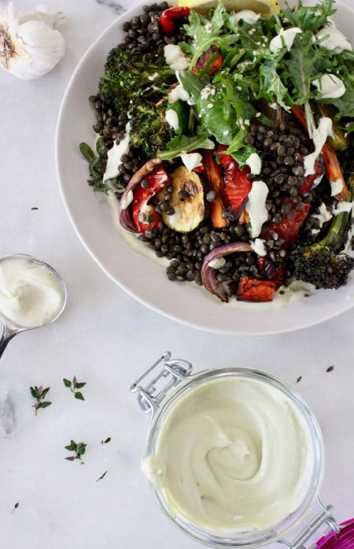 Vegan aioli with black beluga lentils and roasted vegetables.