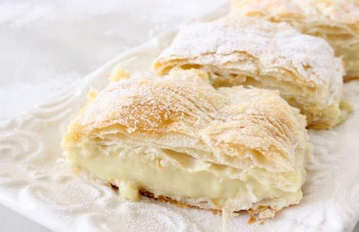 Easy Vegan Custard Puff Pastry Napoleon - Mille Feuille