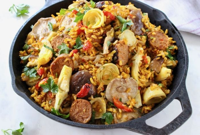 Family Style Vegetarian Paella in Cast Iron Pan.