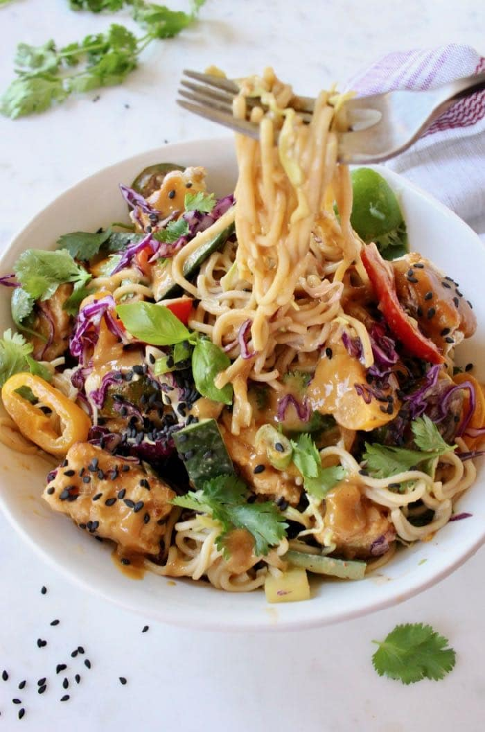 Vegan peanut noodles recipe with vegetables in a peanut lime sauce.