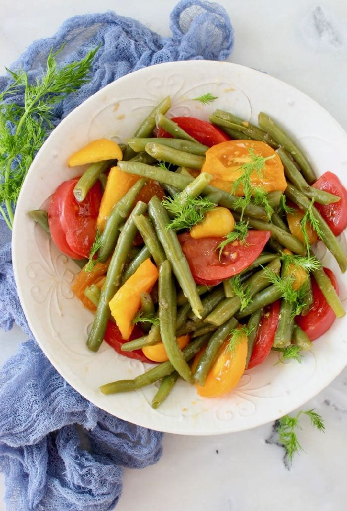 Italian Green Bean Tomato Salad with Lemon Coco Aminos Dressing