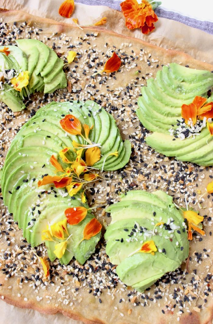 Vegan quinoa flatbread with avocado.