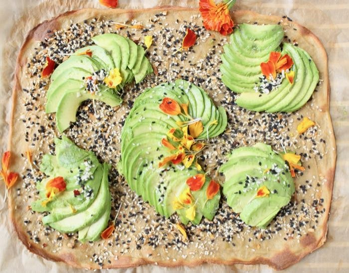 Quinoa flatbread with avocado.