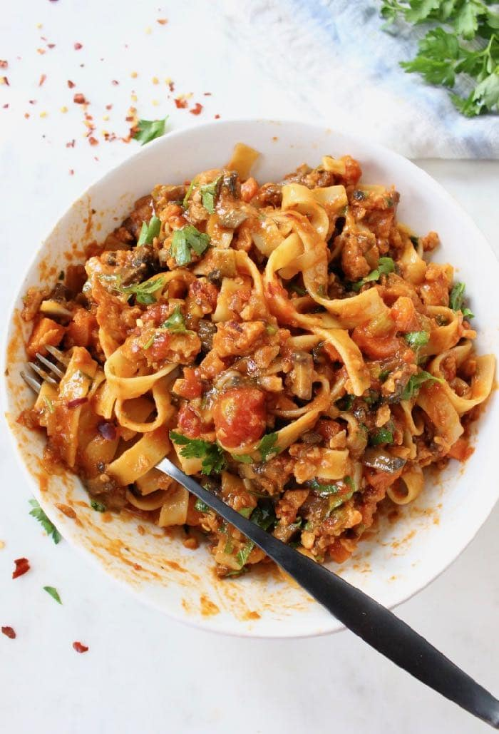 WFPB Vegan Bolognese Pasta with Red Wine Tomato Sauce.