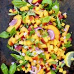Vegan peach salsa with basil and lemon. WFPB oil free & gluten free!