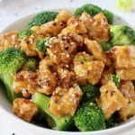 Air fried sesame tofu with broccoli and garlic ginger sesame sauce.