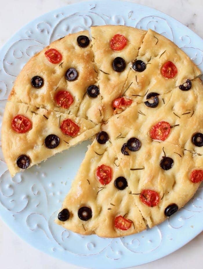 Skillet rosemary focaccia flat bread ~ Vegan.