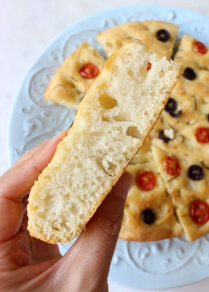 Soft center and crisp crust focaccia bread.