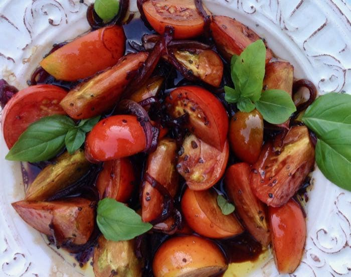 Balsamic Tomatoes with Basil