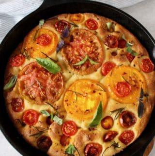 vegan focaccia bread with heirloom tomatoes