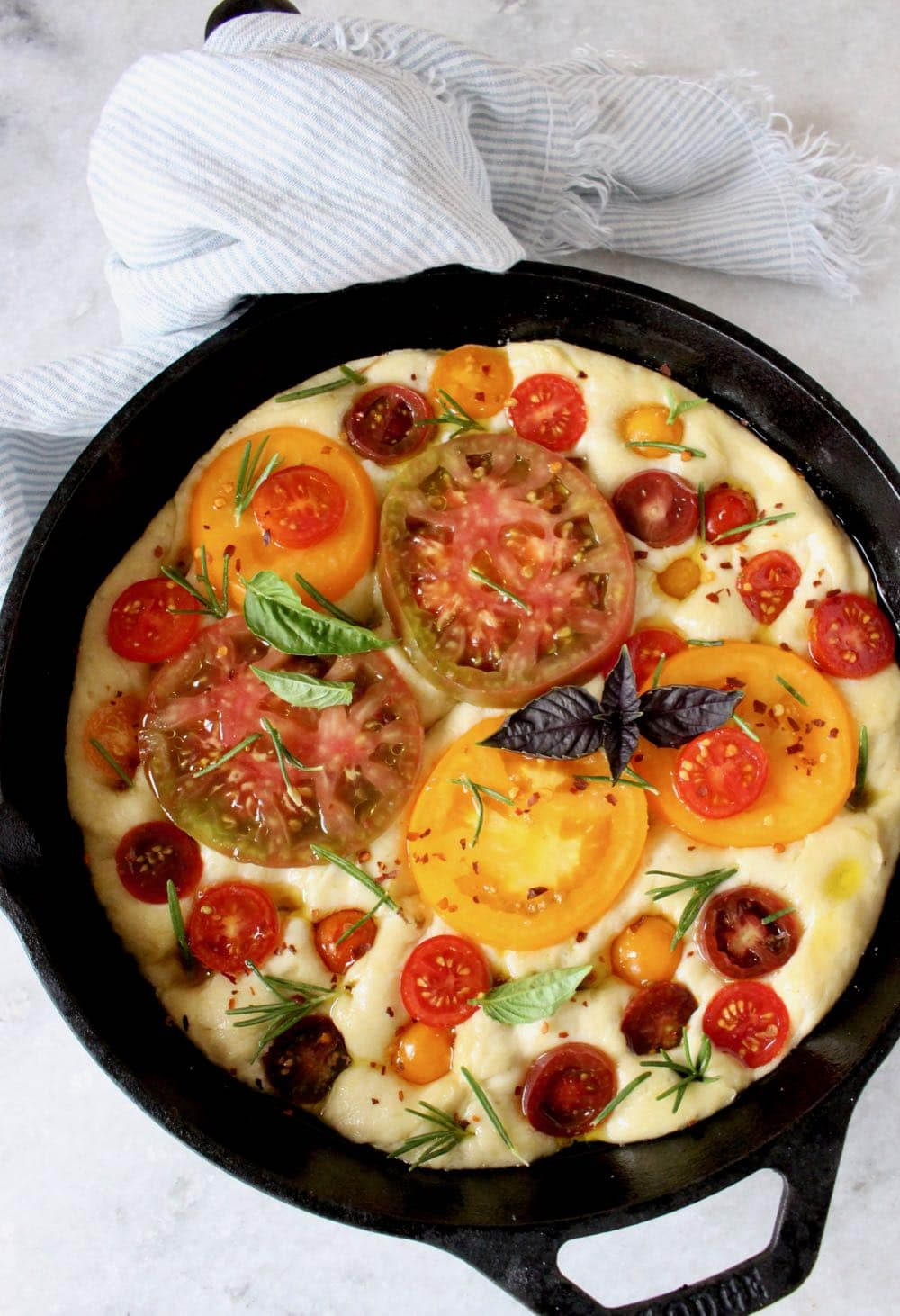 Focaccia Dough with Heirloom Tomatoes