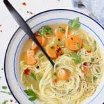 Vegan vegetable noodle soup with long angel hair noodles, carrots, celery and parsley.