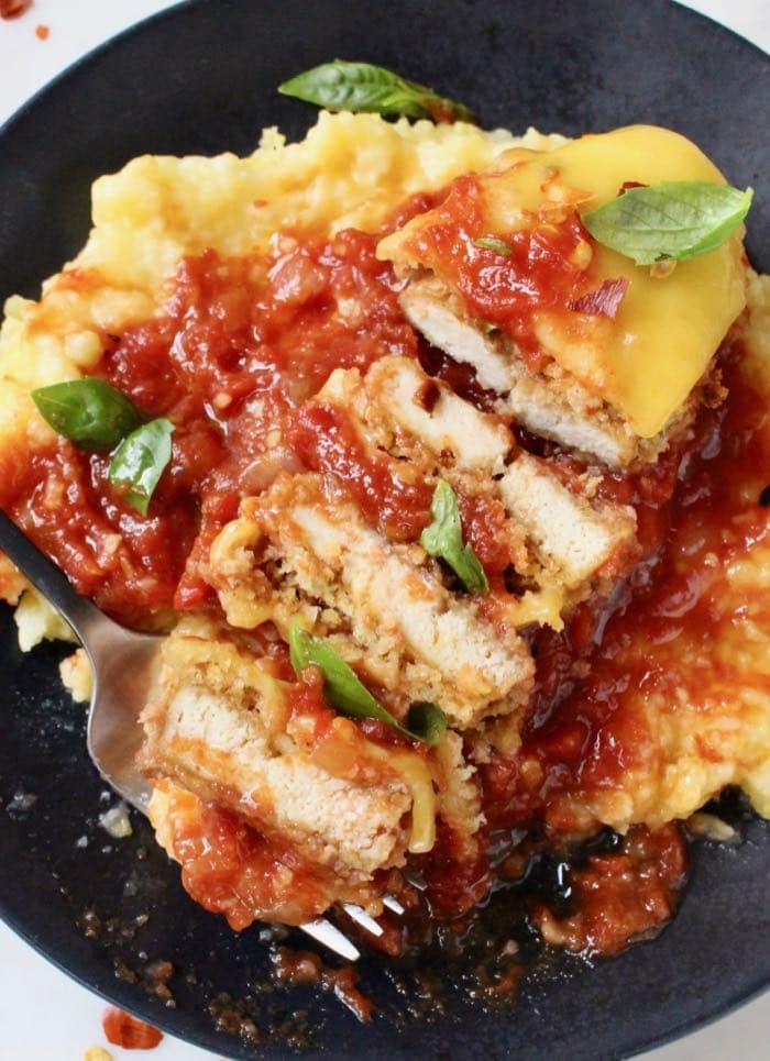 Baked Tofu Parmesan with Polenta