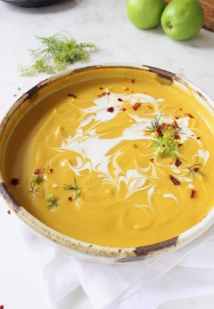 Creamy roasted butternut squash soup - Vegan, Gluten Free.