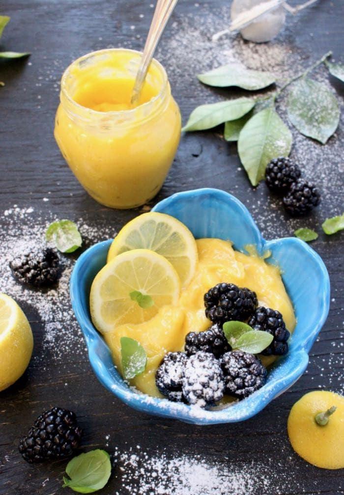 Vegan Mango Lemon Curd with Berries