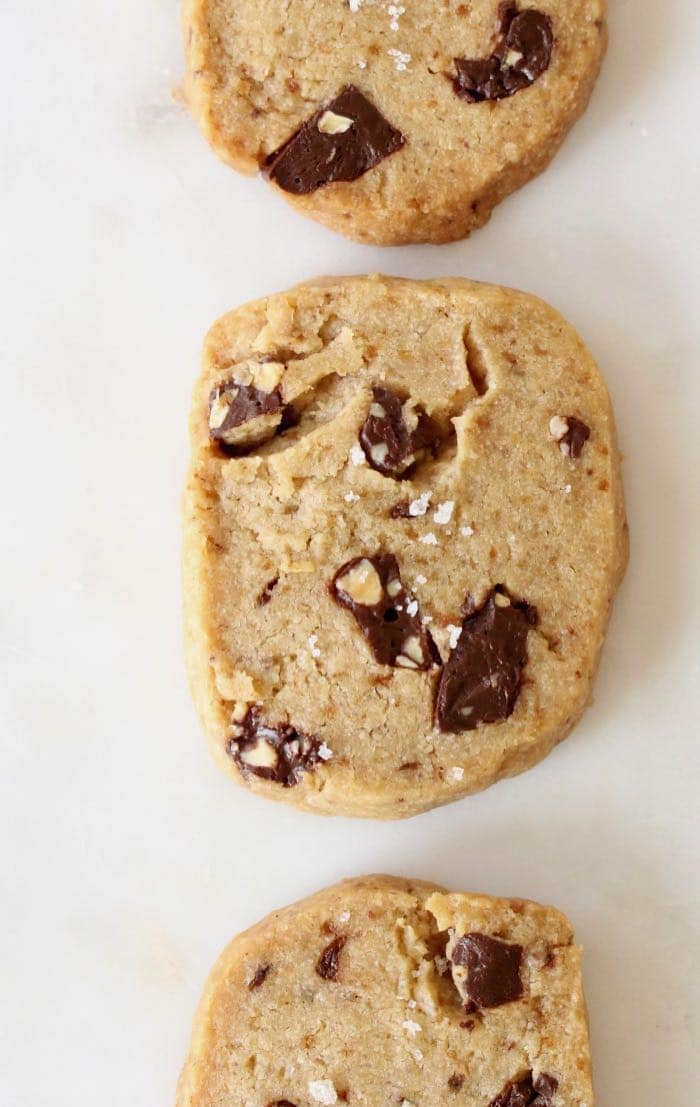 Easy vegan shortbread cookies recipe with dark chocolate chunks, vanilla and cultured vegan butter.