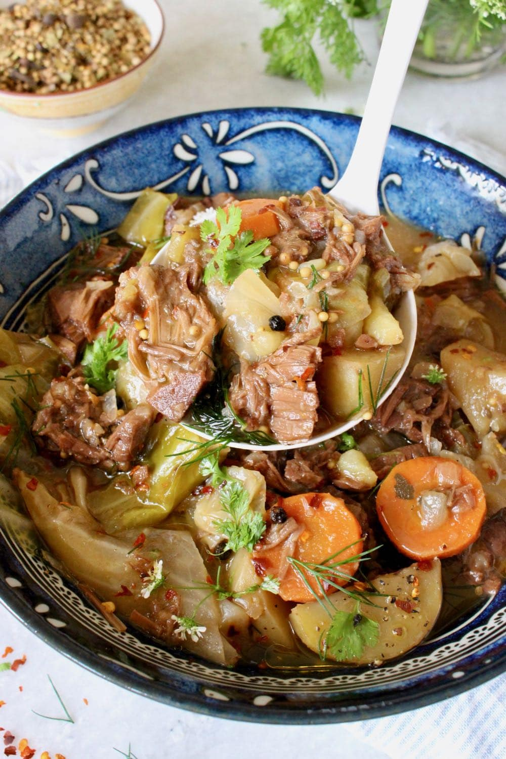 One pot vegan corned beef with cabbage and potatoes.