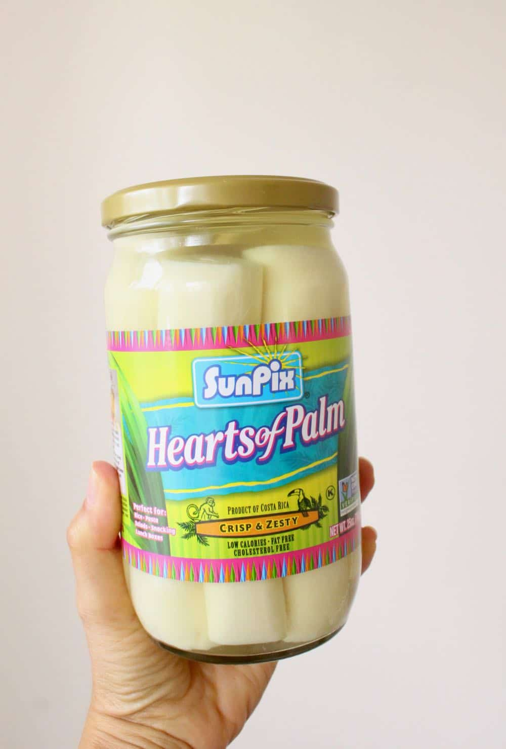 hearts of palm glass jar