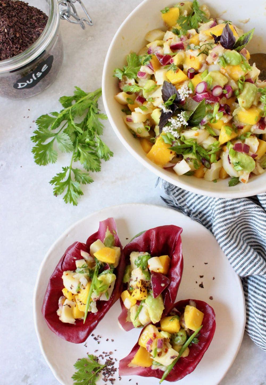 mango avocado ceviche in lettuce boats