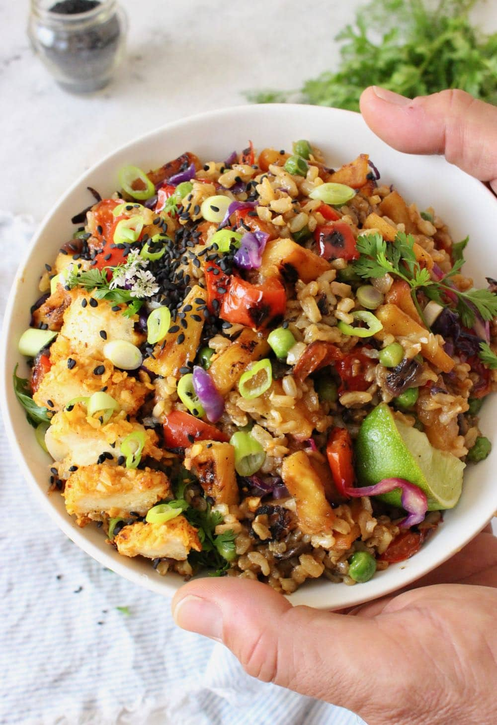 Vegan pineapple fried rice with crispy tofu.