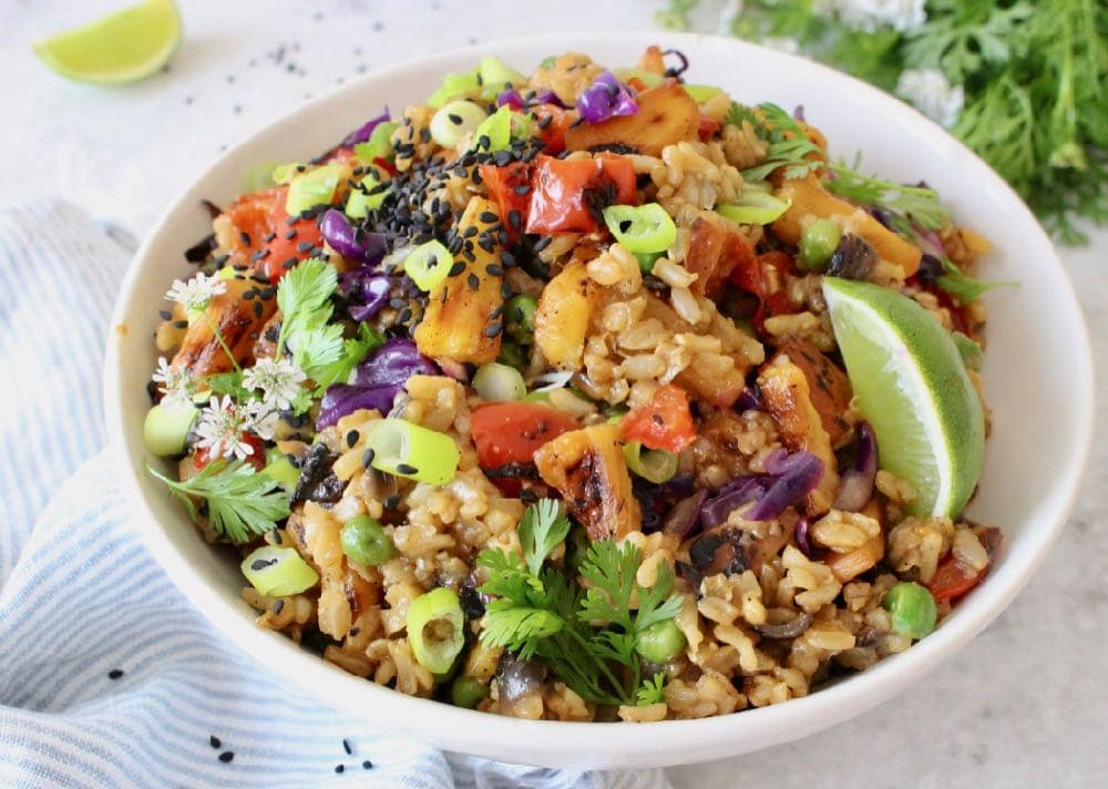 Easy vegan pineapple fried rice.