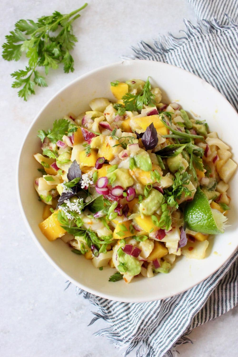 vegan ceviche with mango and avocado