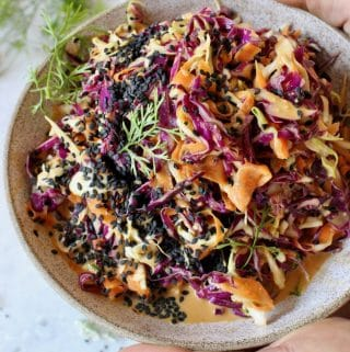 How to make easy peanut slaw.