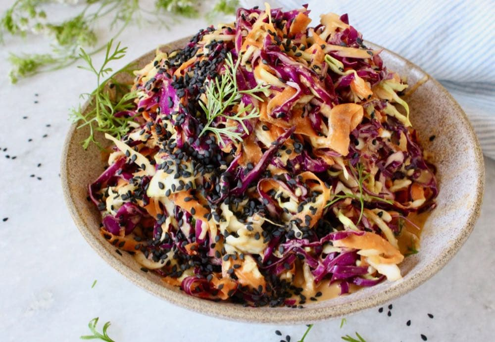 Asian peanut Slaw with purple and green cabbage, carrot, ginger on a peanut dressing.