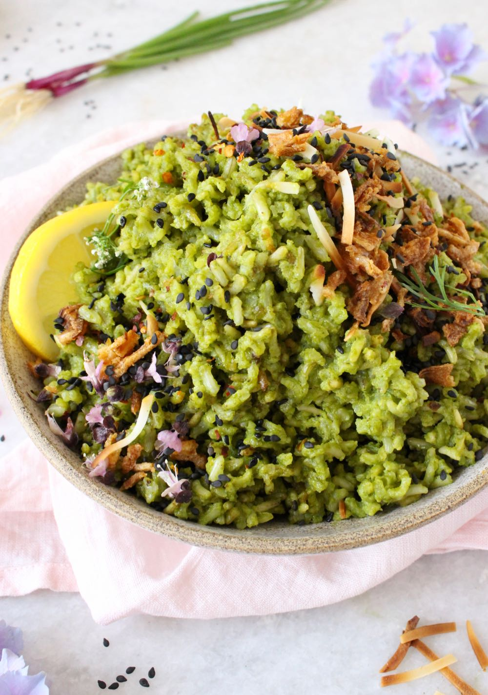 Arroz Verde ~ Coconut spinach rice pilaf with lemon grass and coconut milk.