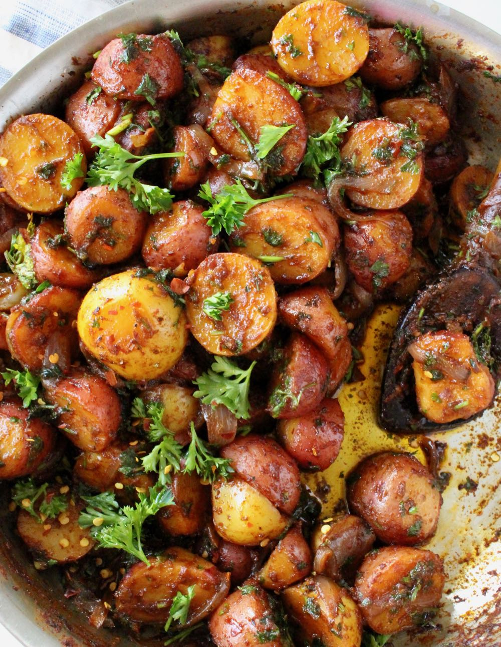 Rustic Paprika Potatoes with Onions, Olive Oil, Dill and Parsley