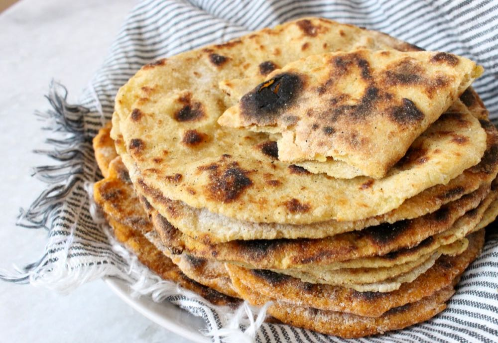 Easy vegan potato flatbread recipe made without yeast