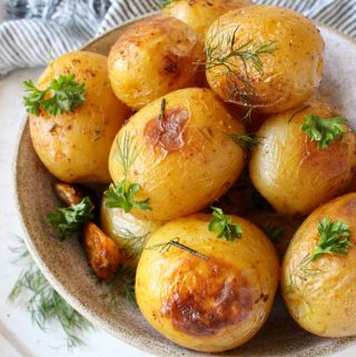 Whole Garlic Rosemary Roasted Potatoes