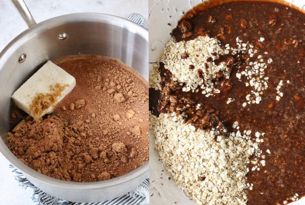 No Bake Vegan Cookies Ingredients in Saucepan and Mixing Bowl