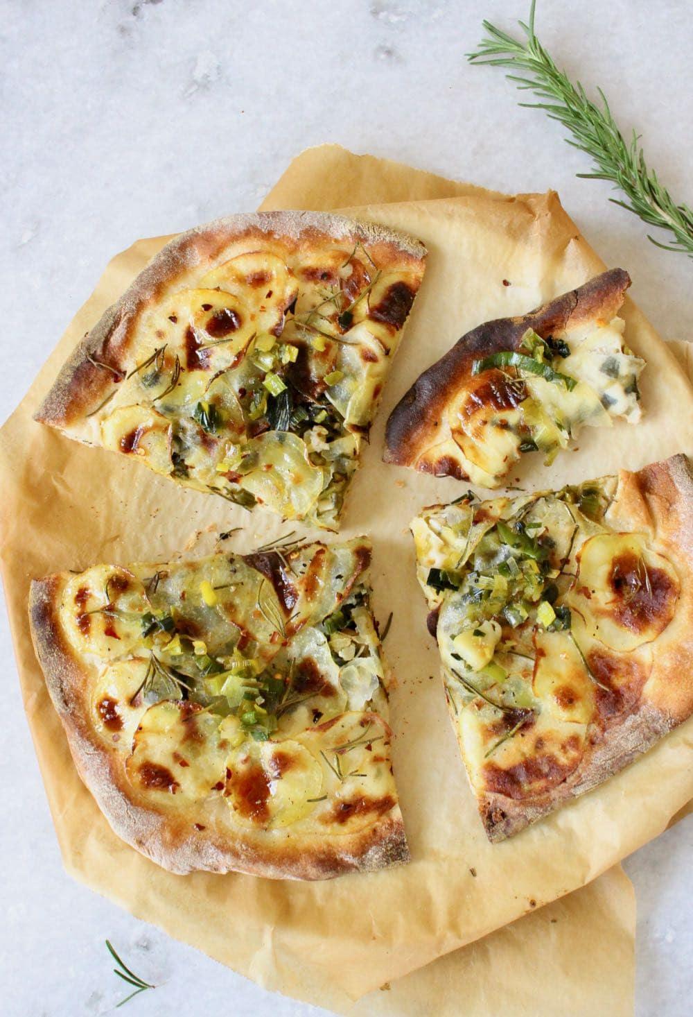 "Vegan Italian potato pizza recipe or ""Pizza con Patate"" with leeks , cashew ricotta and rosemary"