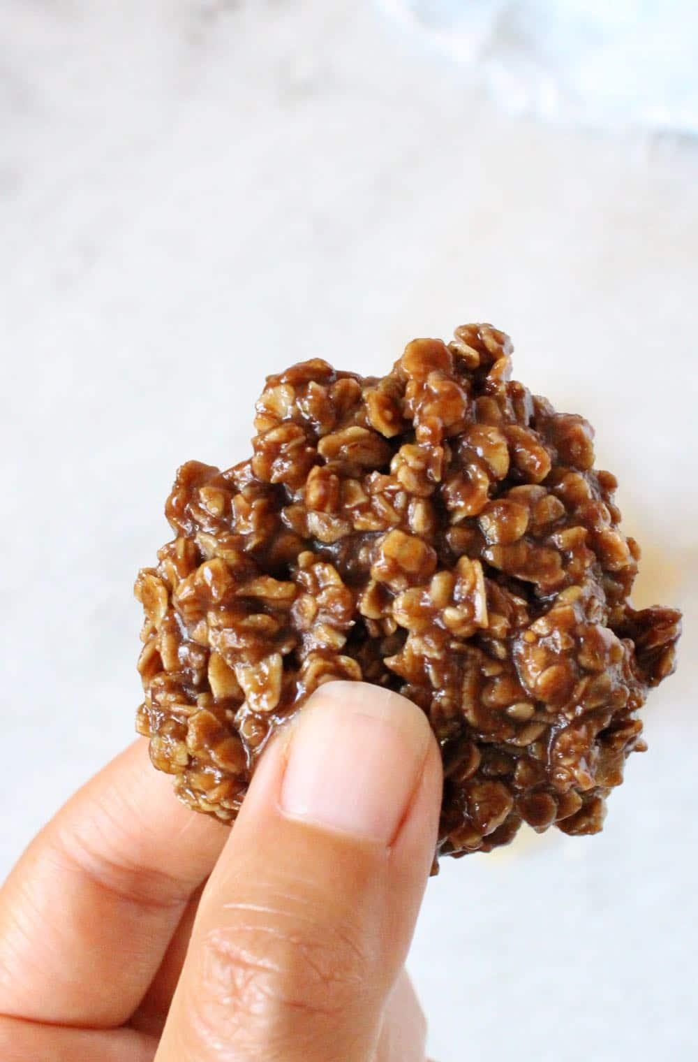 Close Up of Vegan No Bake Peanut Butter Cookies