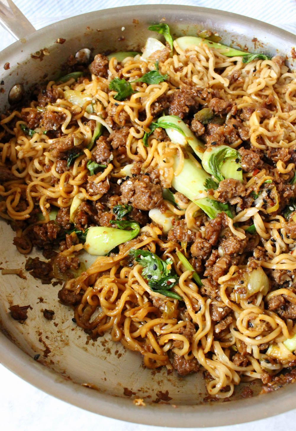 Hearty Vegan Ramen Noodles Skillet with Bok Choy and Beyond Meat